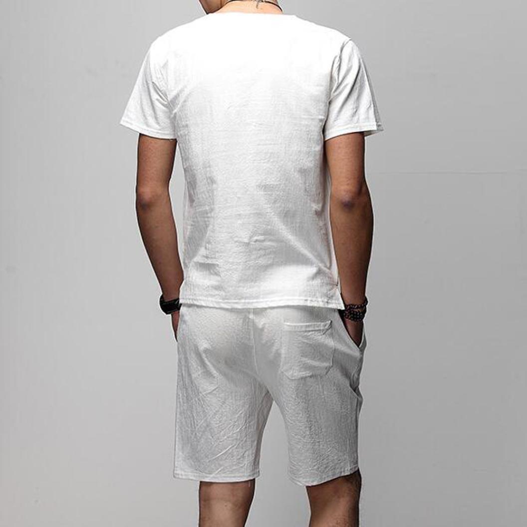 Resplend Camisa de Manga Corta de Dos Piezas Slim para Hombre, con Blusa Superior, Conjuntos de Pantalones: Amazon.es: Ropa y accesorios