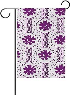 FANTAZIO Garden Flags Violet Fiori Astratti Pittura su Due Lati Bandiera, Poliestere, 1, 12x18(in)