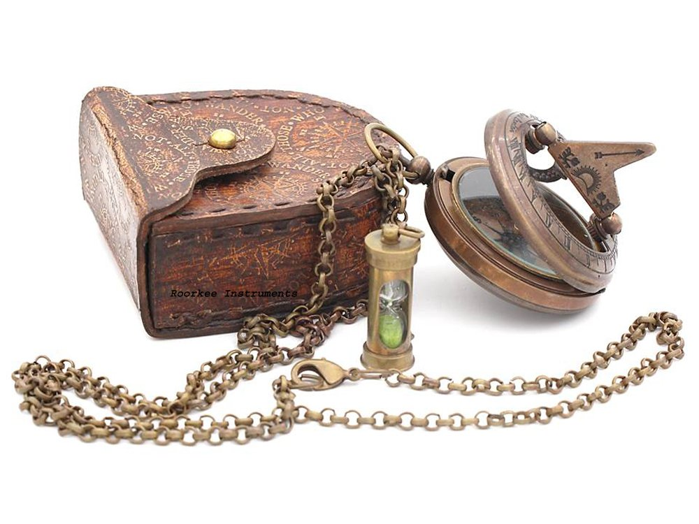 Necklace Sundial Compass/Hour Glass with Stamped Leather Carry Case