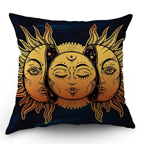 Moslion Sun Moon Pillow Cover Decorative by Sun and Moon with Many Fractal Faces Celestial Energy Mystic Throw Pillow Case 18x18 Inch Cotton Linen Cushion Cover for Men Women Kids Navy Blue Yellow Celestial Throw