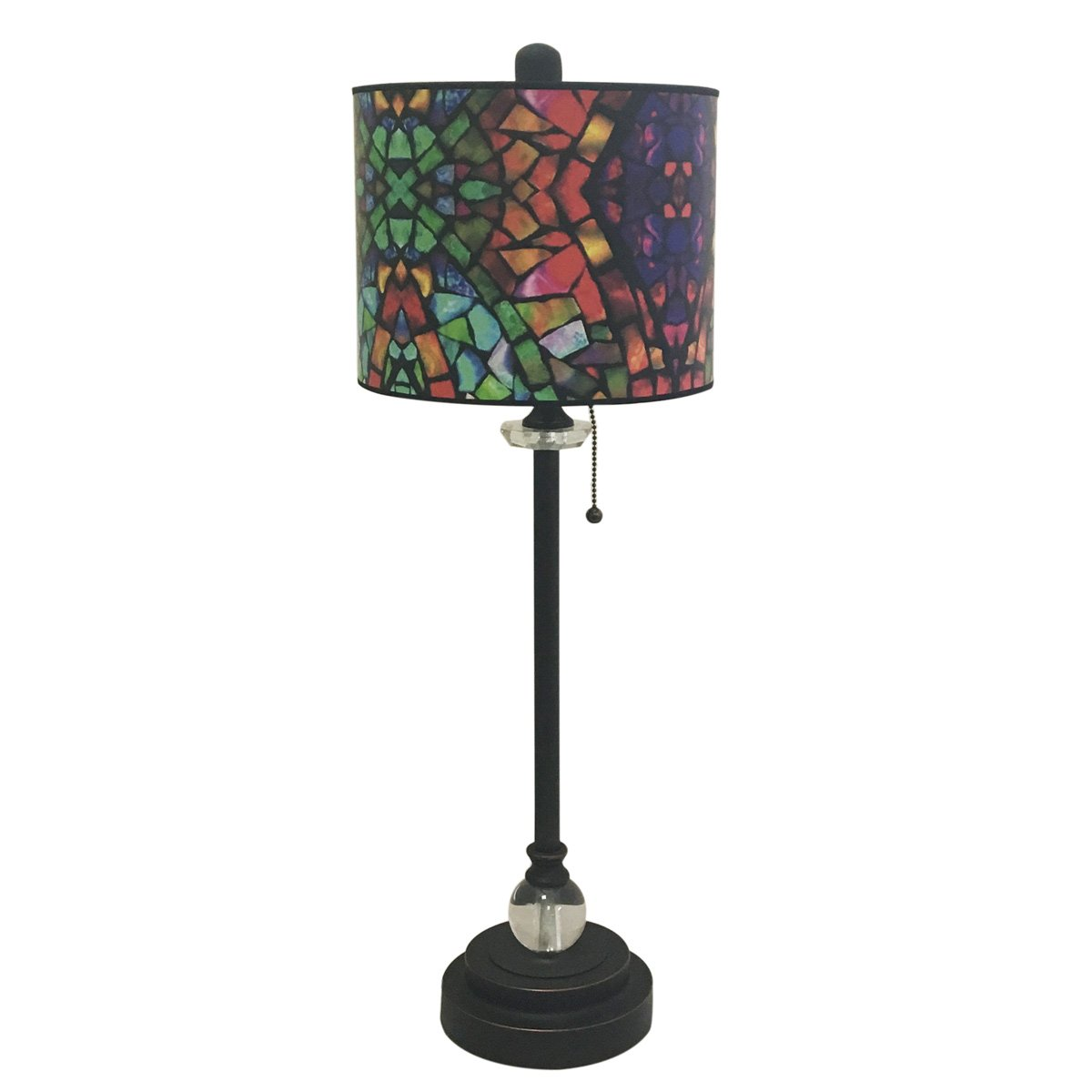 Royal Designs 28'' Crystal and Oil Rub Bronze Buffet Lamp with Mosaic Stained Glass Design Hardback Lamp Shade