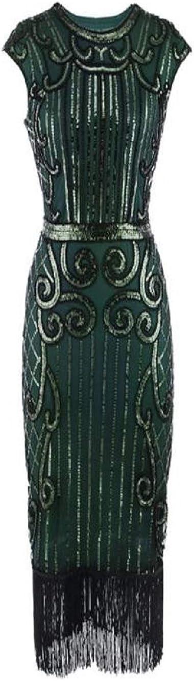TUDUZ Damen Flapper Kleider voller Pailletten Retro 1920er Jahre Stil V-Ausschnitt Party Damen Kostüm Kleid