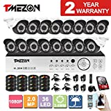 TMEZON 16CH AHD 1080P DVR Digital Video Recorder + 16x 1080P 2.0MP 2000TVL Outdoor Night Vision Bullet Camera Security Kit(1TB HDD)