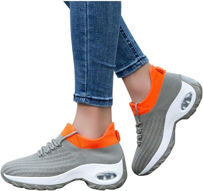 Luckycat Zapatillas Deportivas de Mujer Running Zapatos para Correr Gimnasio Calzado Air Cordones Zapatillas de Running Fitness Sneakers 4.5cm Negro Rosado Gris Blanco 35-42: Amazon.es: Relojes