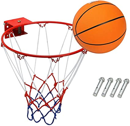 wall mounted full size basketball net backboard and ring with fixings outdoor