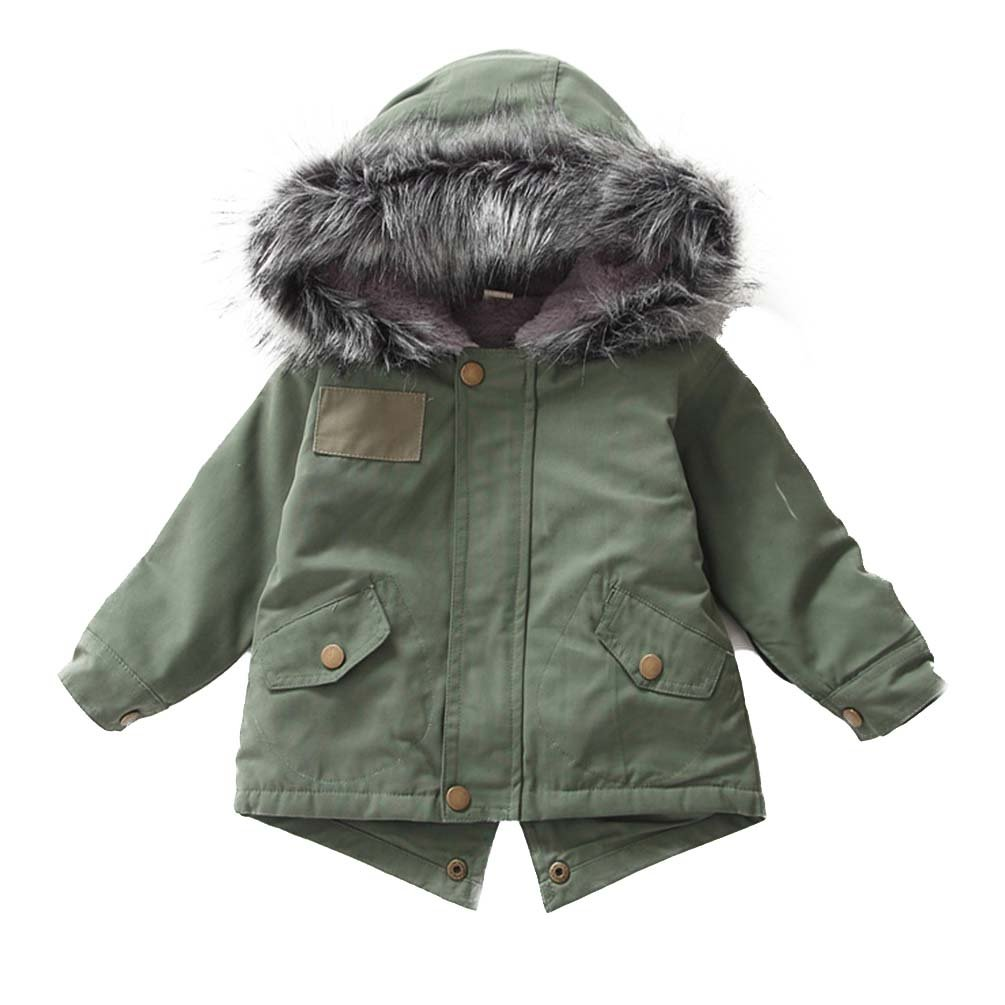 AOWEER Girls Faux Fur Hooded Jackets Parka Coats Zipper Hoodies Outerwear Winter