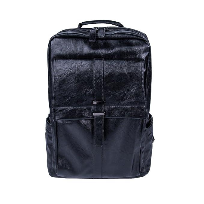 Ayer Bolsos Para Hombres Mochila De Cuero Para Hombre Bolsas Casuales Bolsos Para Laptop Bolsa De Viaje Bolsa De Hombro De Cuero PU,Black-OneSize: ...