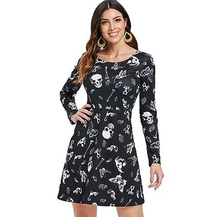 Falda de señora Vestido Largo de Manga Larga con Estampado de ...