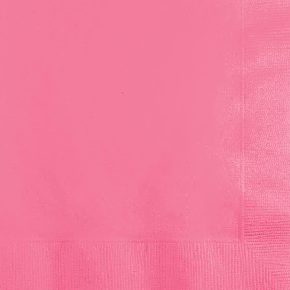 Creative Converting 500 Count Touch of Color 3-Ply Paper Beverage Napkins, Candy Pink