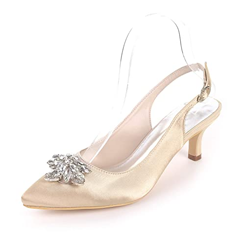68a1dbf23781 CCBubble Kitten Heels Pointed Toe Bridal Sandals Ankle Strap Satin Crystals  Women Dress Shoes-Champagne