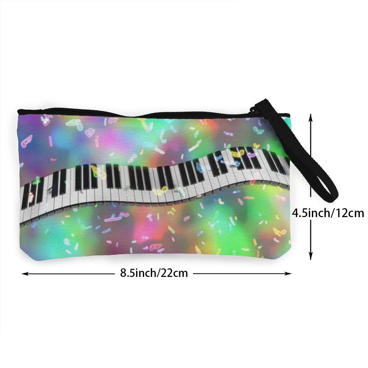 Coin Pouch Pianokeys Canvas Coin Purse Cellphone Card Bag With Handle And Zipper