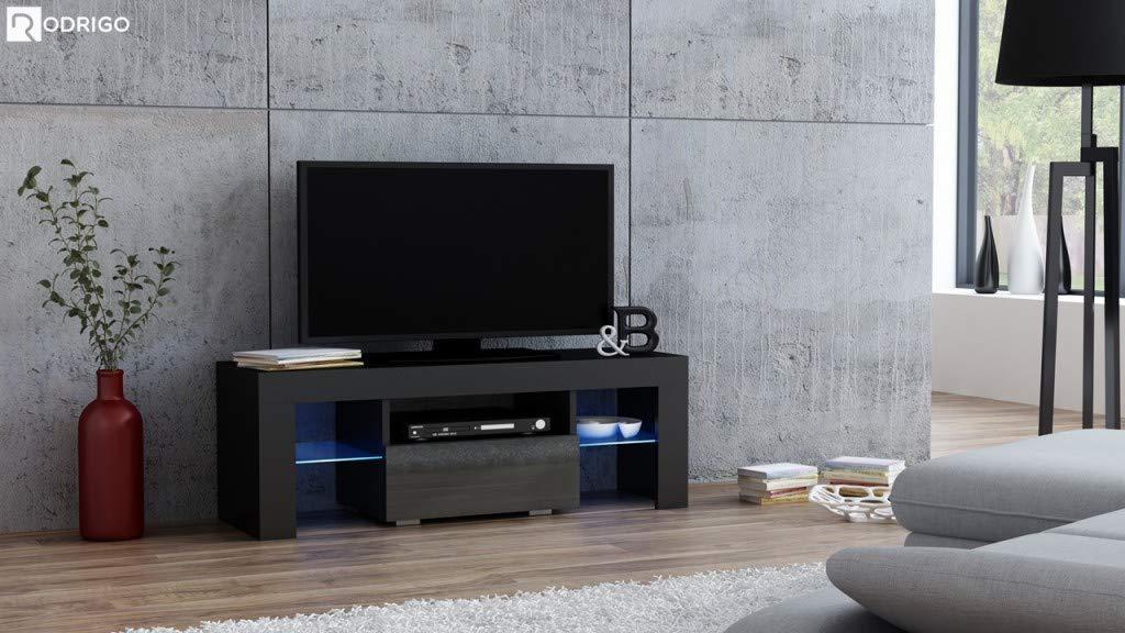 RODRIGO TV TV TV Niedrigboard 110 cm Fernsehschrank TV-Schrank Hochglanz inkl. LED Farbwechsel Beleuchtung (110 x 45 x 35 cm, Weiß Matt Grau Hochglanz) 147715