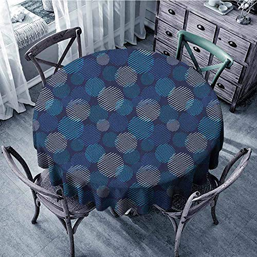 ScottDecor Outdoors Round Tablecloth Jacquard Tablecloth Abstract,Modern Digital Featured Polka Dots Extravagant Dotted Circles, Navy Blue Pale Blue and White Diameter ()