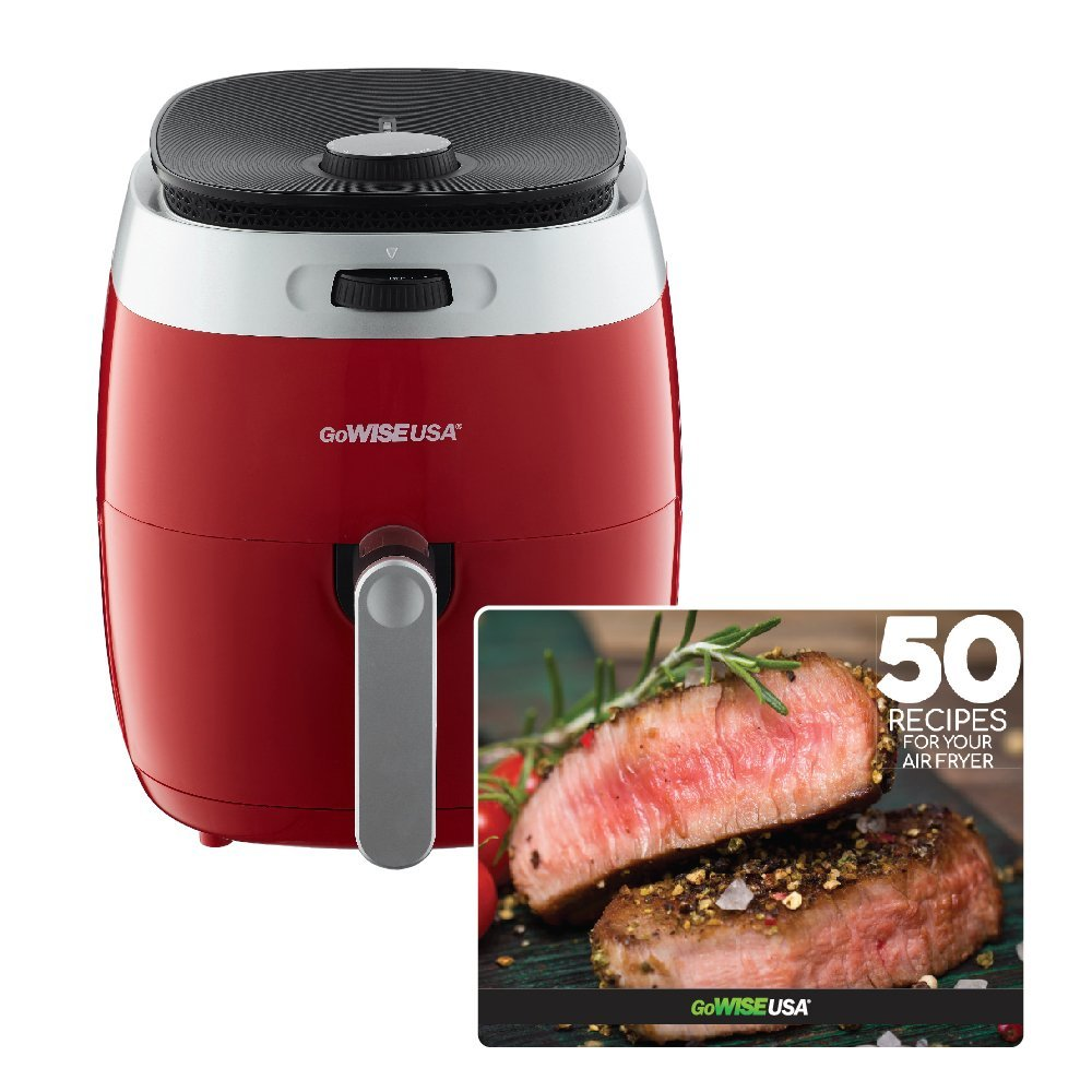 GoWISE USA 3.7-Quart Dial Control Air Fryer, GW22823 (Red) + 50 Recipes For your Air Fryer Book