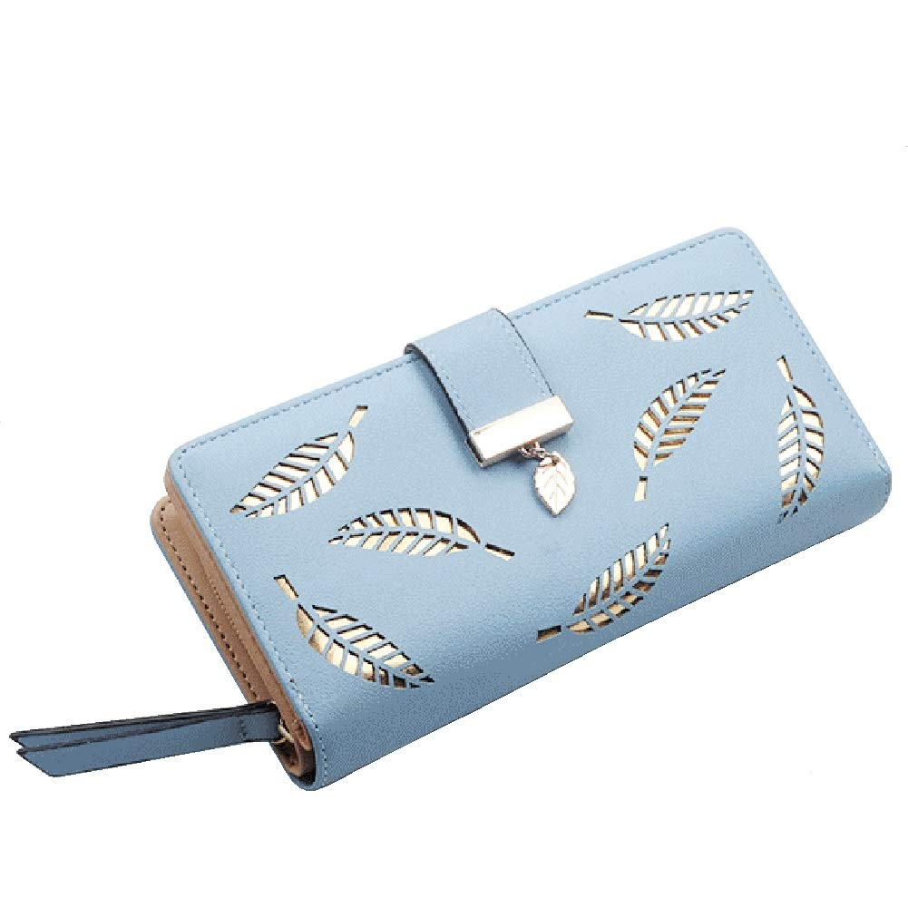 bluee Women's Wallet Long Wallet Purse Large Capacity Women PU Leather Wallet with Leaf Pendant 12 Card Slots Including ID Window, Gifts for Ladies Womans,Pink+bluee