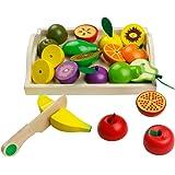 Fruits à Couper en Bois Fruits et Lègumes à Découper Jeu de Jouets de Coupe de Légumes en Bois pour Enfants