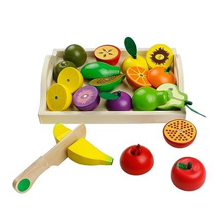 jerryvon Frutas y Verduras Juguete para Cortar Frutas Verduras Juguetes Montessori Comida Madera Cocinas de Juguete para Niños Regalos para Cumpleaños ...