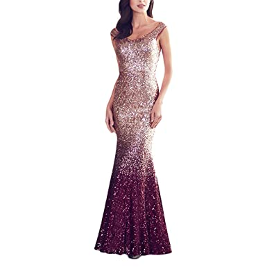 TOYIS Women Sparkling Gradual Champagne Gold Sequin Mermaid Cap Sleeves Evening Dress Prom Dress (Burgundy