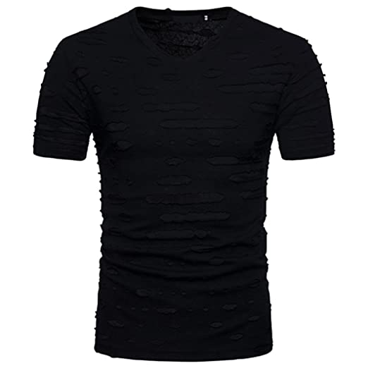 8f2e2471921 BSGSH Men s Casual Hipster Hip Hop Short Sleeve V Neck Ripped Hole T Shirts  Tee Top