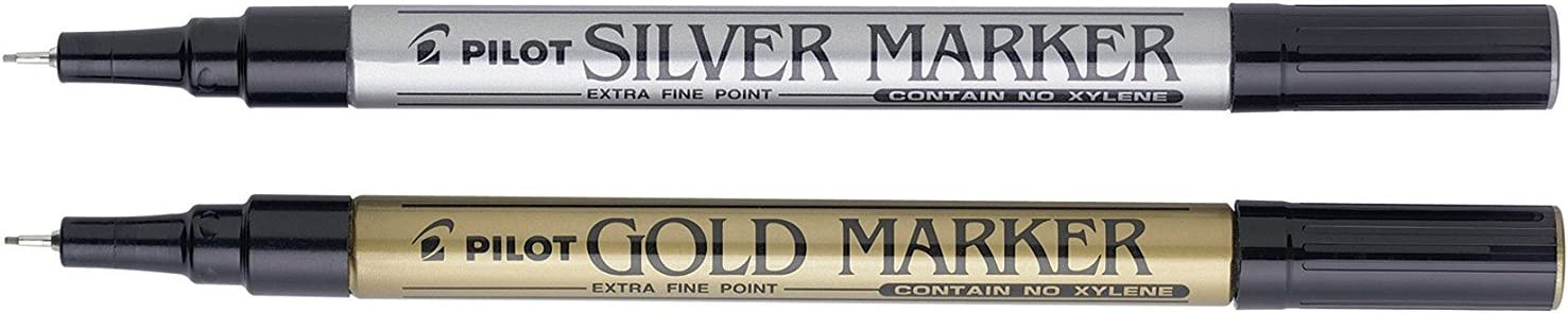 Pilot Supercolour Paint Marker Pen Pack of 2 Gold and Silver