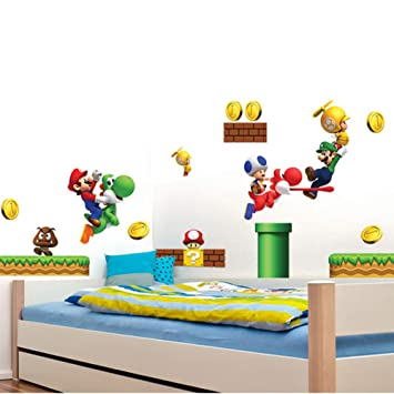 Amazon.com: Super Mario Brothers Removable Wall Decals Stickers Kids Room  Decoration Build A Scene Peel: Baby