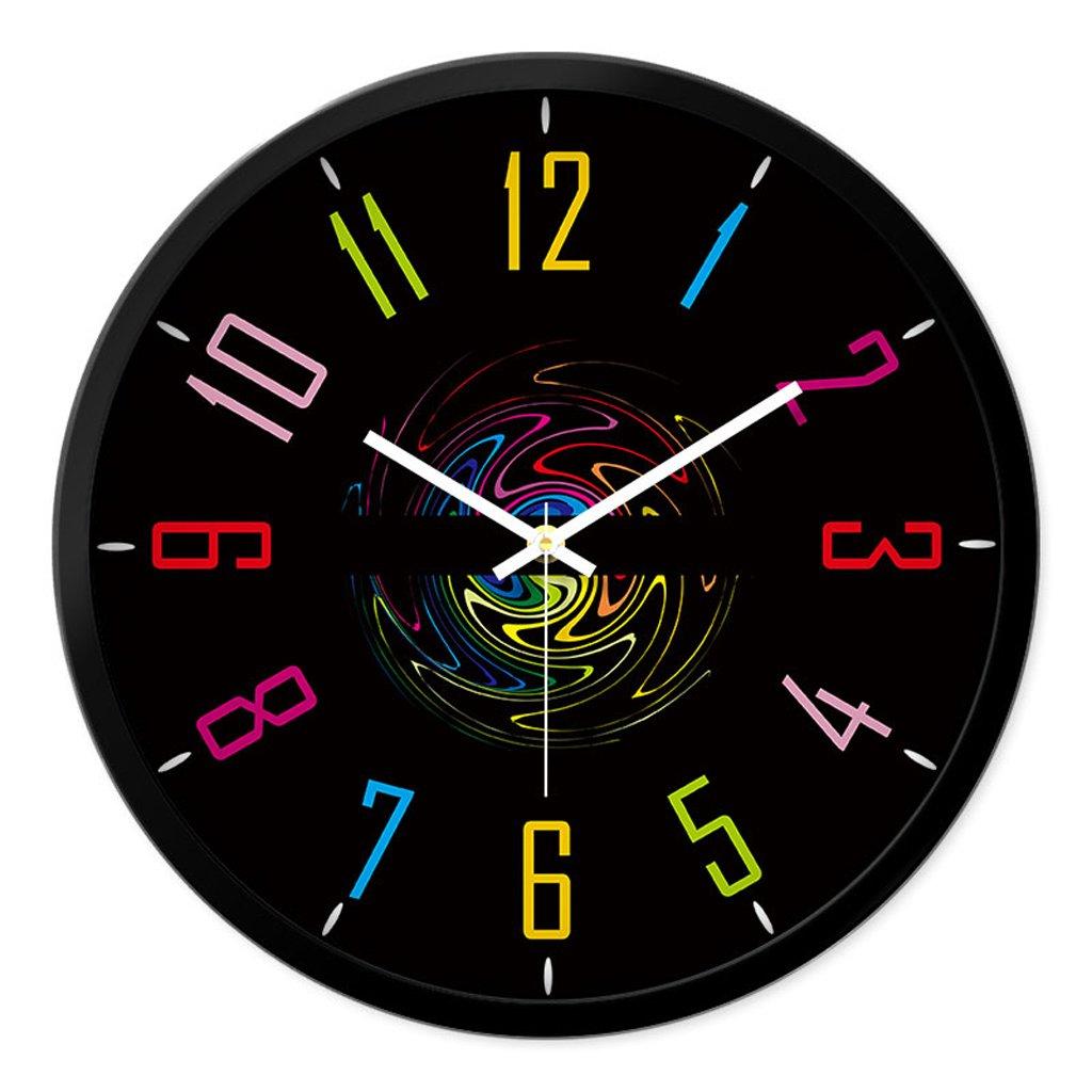 リビングルームクリエイティブファッション装飾時計ベッドルームミュートラウンドモダンパーソナリティファッションシンプルなガラスクォーツ時計の腕時計 (色 : ブラック, サイズ さいず : L l) B07CYS93HM L l|ブラック ブラック L l