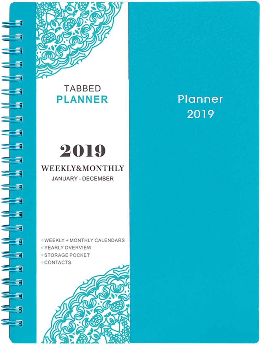 2019 Planner - Weekly & Monthly Planner 2019, Flexible Cover, 12 Monthly Tabs, Twin-Wire Binding with Two-Sided Inner Pocket, 5'' x 8'' - BooQool