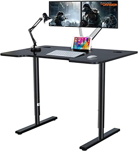 Kazila 46 Ergonomic Computer Gaming Desk PC Gamer Desk for Home Office with Adjustable Height Standing, iPad Slot, Black