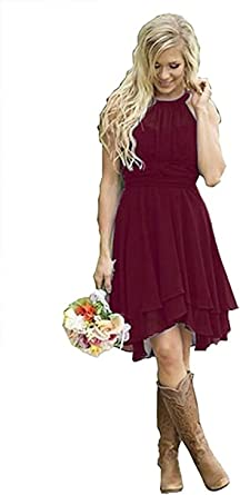 Amazon.com: Meledy Women\'s Knee Length Country Bridesmaid ...