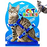 Cat Harness Leash, Adjustable H Harness Nylon Strap Collar with Leash, Dogs Leash and Harness Set, for S M Cat and Pet Walking (Blue) …