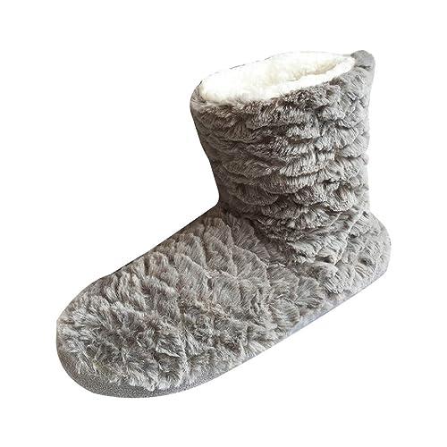 Zapatillas de Estar por Casa Botas Botines de Felpa para Interiores para Mujer Diseño Lindo para Invierno Cálido Cómodo Gris 39-41: Amazon.es: Zapatos y ...