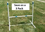 3 Pack of Agility Gear Training Jumps - One 30'' Striped Bar on each Jump