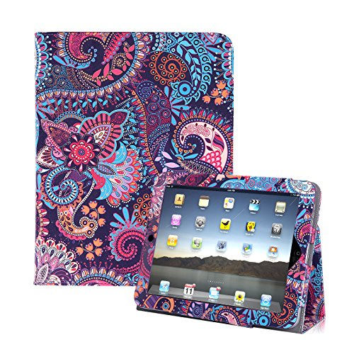 HDE iPad 1 Case - Slim Fit Leather Cover Stand Folio with Magnetic Closure for Apple iPad 1 1st Generation (Purple Paisley)