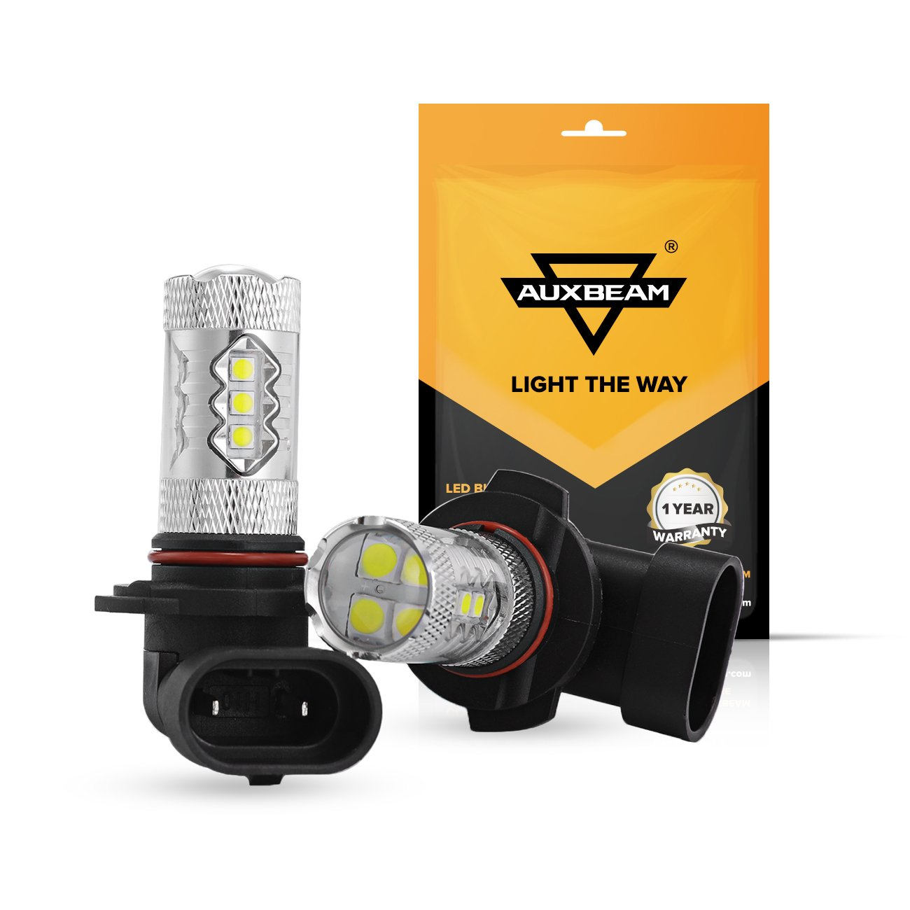 Xenon White Turn Set of 2 Auxbeam Extremely Bright Max 50W High Power H10 9145 LED Fog Light Bulbs for Signal Tail DRL and Fog lights Parking