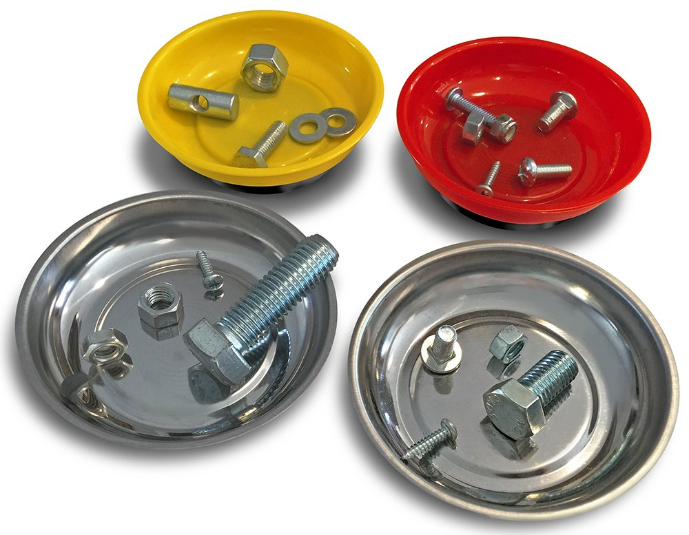 OCM 4 Pack Magnetic Parts Tray Set, Includes 2 Stainless 4 1/4-inch Diameter Bowls, 2 Impact-Resistant Color Coded Bowls by OCM Brand