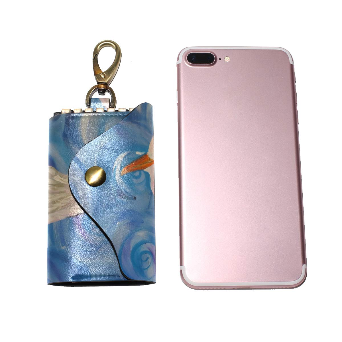 KEAKIA Bird Painting Leather Key Case Wallets Tri-fold Key Holder Keychains with 6 Hooks 2 Slot Snap Closure for Men Women