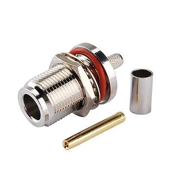 RF Adaptador de conector coaxial N Jack mamparo o-ring – engaste para RG58 LMR195