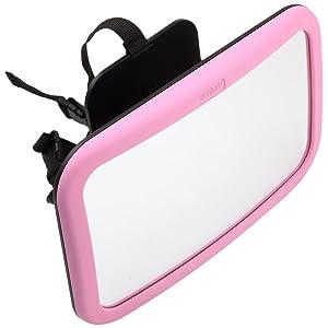 Venture Amplia Asiento Trasero Espejo ángulo de giro y función de inclinación (Tamaño Grande), color rosa