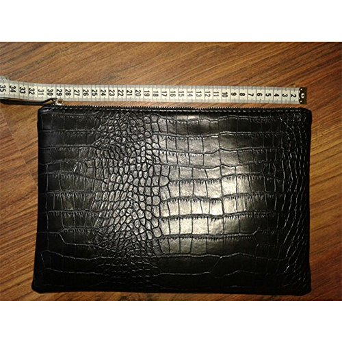 NIGEDU Women Clutches Crocodile Grain PU Leather Envelope Clutch Bag (Black) by NIGEDU (Image #8)
