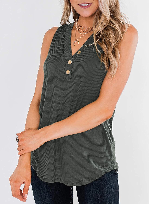 Paitluc Womens Three Button Sleeveless Tank Tops V Neck Summer Vest