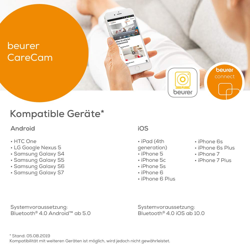 Beurer BY99 - Vigilabebés con monitor pantalla, compatible ...