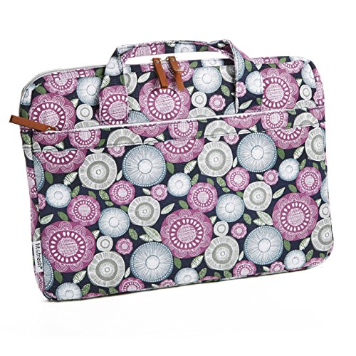 Fit & Fresh Protective Laptop Bag with Handles & Zippered Storage Pocket, fits Apple/Microsoft/Acer/Samsung/Google/Lenovo with up to 15.6″ Displays, Navy Flower Scramble