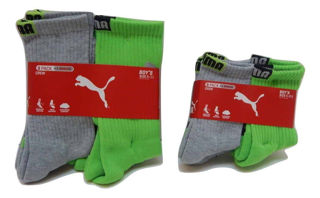 Puma Boys Crew Socks 3-Pack + 1 Bonus Athletic Sports Sox (Sock 9-11/ Shoe 4-9.5, Grey/Lime Green - Black Logo)