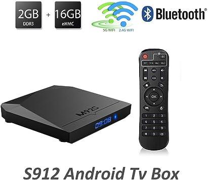 megassi m92s Amlogic S912 Android 6.0 TV Box Octa Core 2 GB 16 GB más alta configuración Smart Box Apoyo 2,4 gHz/5.0ghz WiFi Bluetooth 4.1 Gigabit Ethernet 1000 m: Amazon.es: Electrónica