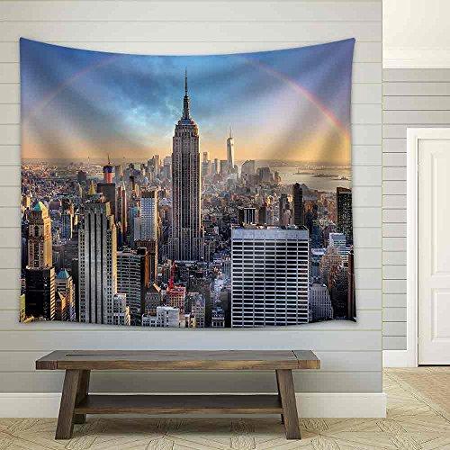 New York City Skyline with Urban Skyscrapers and Rainbow Fabric Wall