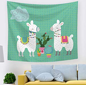 Llama Cactus Decor Tapestry Bedroom Wall Hangings Decorations Blanket for Kids 59 x 51 inches