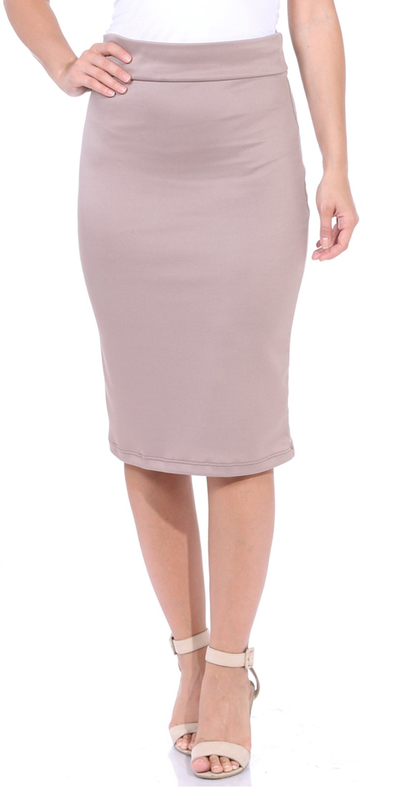 Popana Women's High Waist Knee Length Stretch Pencil Skirt - Ladies Shaping Midi Skirt For Work or Office - Made In USA Large Toffee