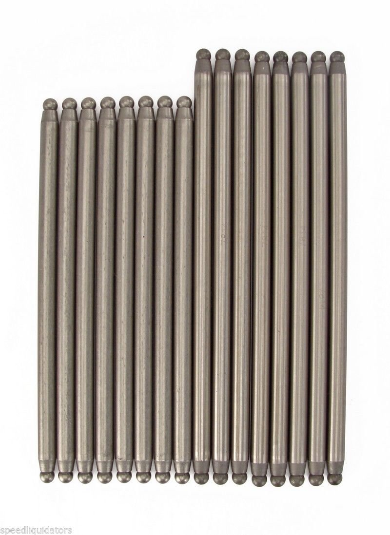 Set of 16 Pushrods 3//8 Diameter compatible with 1965-1990 Chevy bb 396 402 427 454 Elgin, IL. USA Elgin Industries