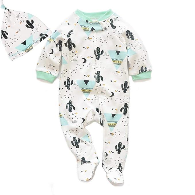 Bebé Mameluco de Algodón para Onesies Pijamas Traje con Sombrero Ropa Niño Niña: Amazon.es: Ropa y accesorios