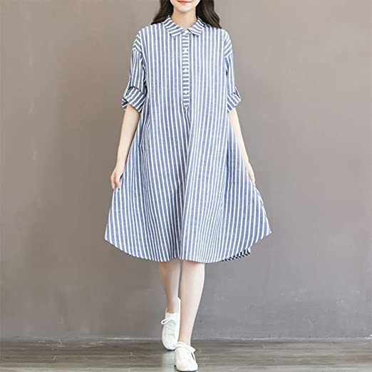 Amazon.com : The Best Easter Gift!!!Aries Esther Maternity Clothes Womens Mother Blue Striped Dress Lining Dress For Pregnant : Beauty